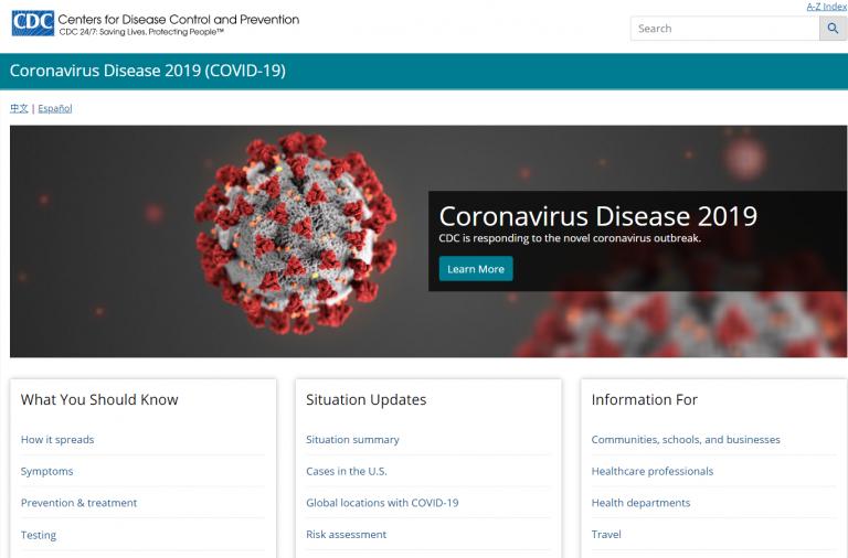 CDC Cornavirus Homepage