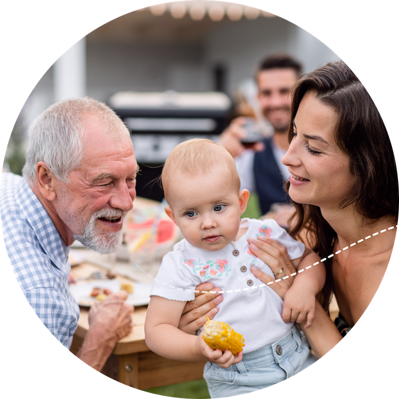 Multi-Generational Family eating outdoors