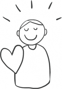 happy person with heart icon