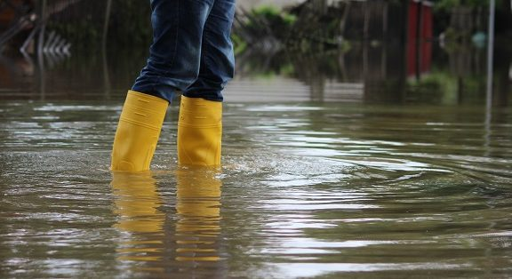 Rainboots in a flood